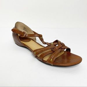 Frye Margot Woven Brown Leather Sandals Size 7.5